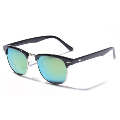 Okuliare Clubmaster čierne zrkadlové green
