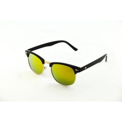 Okuliare Clubmaster čierne zrkadlové gold