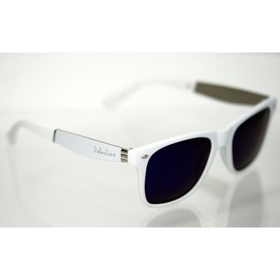 Slnečné okuliare polarizačné Wayfarer AIR biele s nápisom