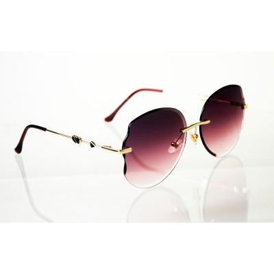 Dámske slnečné okuliare Heart Crystal gold PURPLE