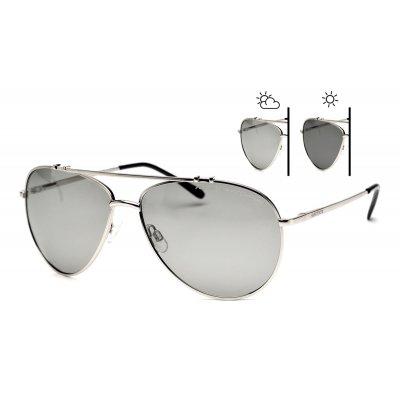 Fotochromatické okuliare pilotky SUN TROOPER Silver