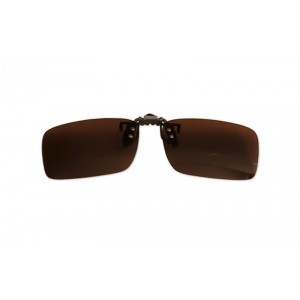 Polarizačný klip na okuliare - hnedý - 3,7 cm x 13,1 cm
