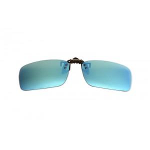 Polarizačný klip na okuliare - zrkadlový modrý - 4,2 cm x 13,8 cm