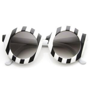 Dámske slnečné okuliare Round Stripe čierno-biele