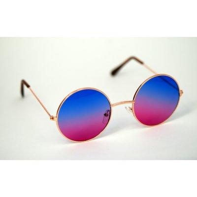 Okuliare Lenonky zlaté modro-rúžové sklá